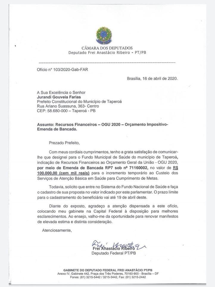 93998066_2760680917392713_3477069222054461440_o Deputado Frei Anastácio destina recursos para custeio de saúde no município de Taperoá